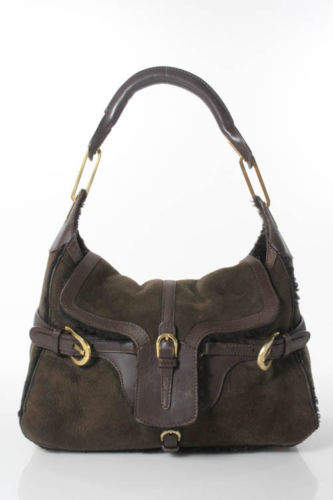 Jimmy Choo JIMMY CHOO Dark Brown Suede Shearling Tulita Shoulder Handbag