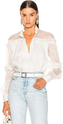 Jonathan Simkhai Metallic High Collar Blouse in White | FWRD