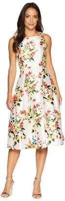 Tahari ASL Floral Print Cocktail Midi Dress Women's Dress