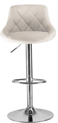 Incadozo Darien High Back Upholstered Bar Stool in Chrome and Ivory