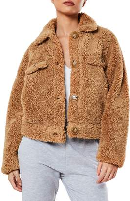 Missguided Cropped Borg Trucker Jacket