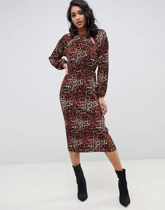 0f79405667 Asos Design DESIGN plisse midi dress with cut outs in leopard print