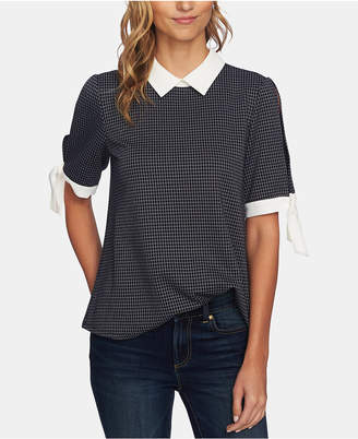 CeCe Collared Windowpane Blouse
