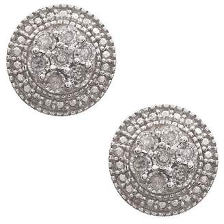 Savvy Cie Sterling Silver Diamond Halo Stud Earrings - 0.15 ctw