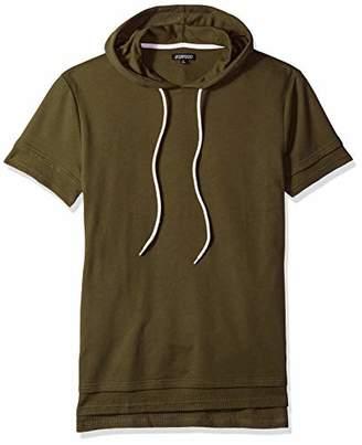 Elwood Clothing Men's Short Sleeve Layered Split Hem Hoodie
