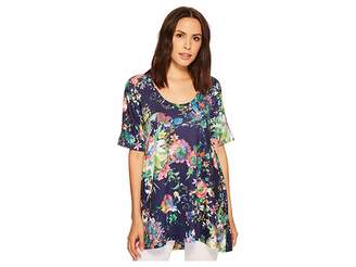 Nally & Millie Blue Floral Tunic Women's Clothing