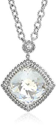 clear Sterling Silver Crystal Cushion Cut Pendant Necklace