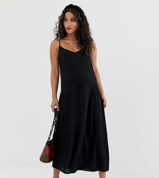 New Look Maternity midi slip dress in black