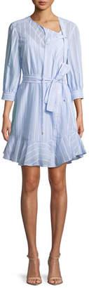 Derek Lam 10 Crosby Belted Stripe Asymmetric-Placket Dress