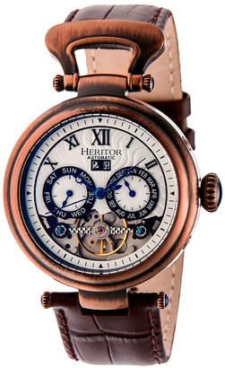 Heritor Automatic Ganzi Bronze Leather Watches 44mm