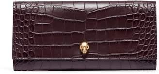 Alexander McQueen Skull croc embossed leather travel wallet