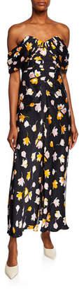 Self-Portrait Off-Shoulder Floral-Printed Dress