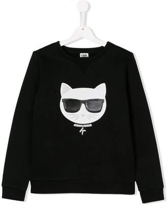 Karl Lagerfeld TEEN cat motif sweatshirt