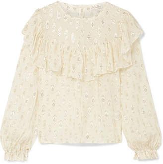 LoveShackFancy Erin Ruffled Metallic Fil Coupé Silk-blend Georgette Blouse - Cream