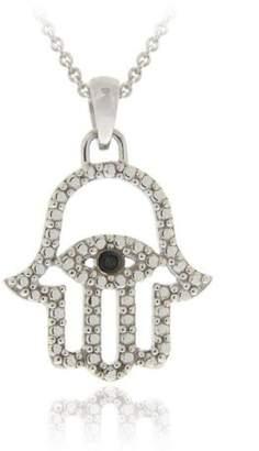 Black Diamond Glitzs Sterling Silver Accent Hamsa-Evil Eye Pendant