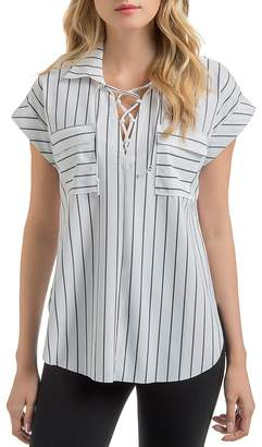 Lysse Clio Striped Lace-Up Top