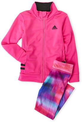 adidas Girls 4-6x) Two-Piece Tricot Jacket & Printed Leggings Set