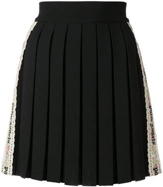 Palm Angels side-stripe pleated mini skirt