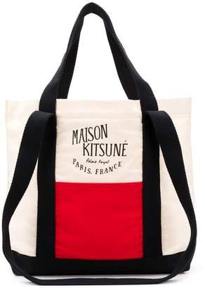 MAISON KITSUNÉ tricolour logo tote bag