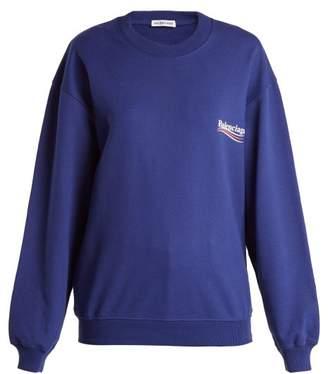 Balenciaga Logo Print Cotton Sweatshirt - Womens - Blue Multi