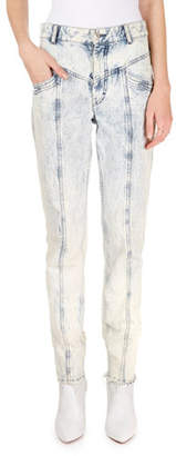 Isabel Marant Lorricka Acid-Washed High-Waist Skinny Jeans