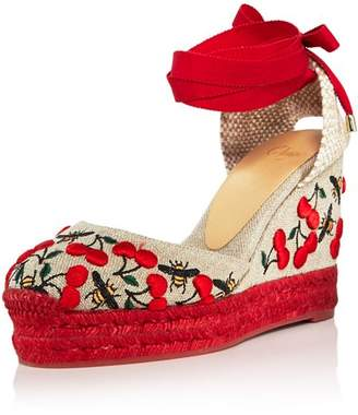 Castaner Women's Carina Merlion Park Embroidered Ankle Tie Wedge Espadrilles