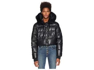 The Kooples Fake Leather and Fake Fur Down Jacket
