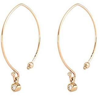 Mizuki Small diamond 14k gold marquise hoop earrings