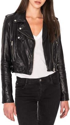 LAMARQUE Ciara Cropped Leather Moto Jacket
