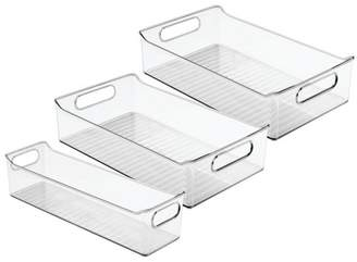 clear mDesign Plastic Food Storage Bins for Kitchen, Pantry, Cabinet, Set of 3