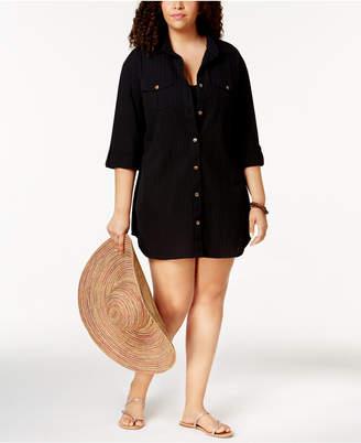 Dotti Plus Size Cotton Cabana Life Shirtdress Cover-Up Women's Swimsuit