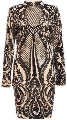 Quiz Nude And Black Sequin Embellished Turtle Neck Bodycon Dress