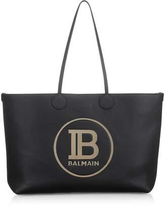 Balmain Medium Black & Gold Leather Tote Bag