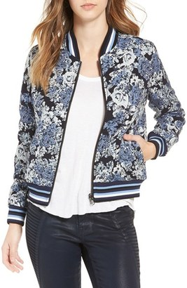 Women's Blanknyc Floral Jacquard Bomber Jacket $128 thestylecure.com