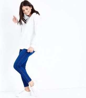 New Look Bright Blue Notch Hem Skinny Jenna Jeans