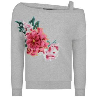 GUESS GuessGirls Grey Floral Embroidered Sweater