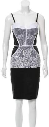 Just Cavalli Lace-Trimmed Satin Dress