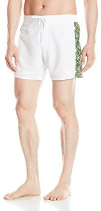 Emporio Armani Men's Forest Pattern Side Piping Bermuda Swim Shorts