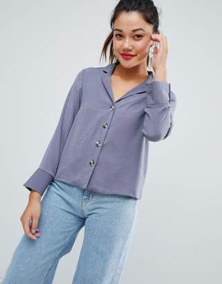New Look button through shirt in gray