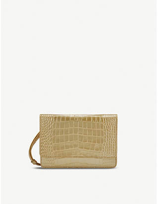 Smythson Mara crocodile embossed leather purse with strap