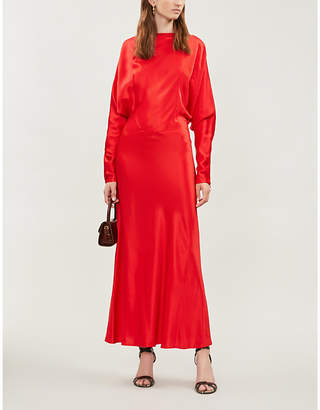 Victoria Beckham Draped-sleeve ribbed satin maxi dress