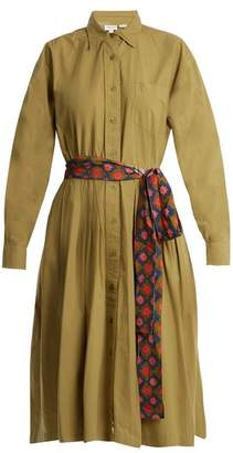 Rhode Resort - Laura Point Collar Cotton Shirtdress - Womens - Khaki