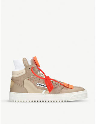 Off-White Lo 3.0 leather and canvas high-top trainers