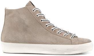 Leather Crown perforated hi-top sneakers
