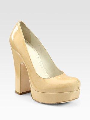 Alice + Olivia Ronan Patent Leather Chunky-Heel Platform Pumps