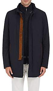 Barneys New York MEN'S TECH-FABRIC COAT-NAVY SIZE 44 R