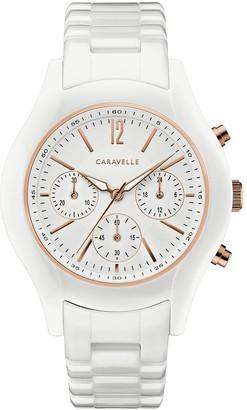 Caravelle Women's Chronograph White Ceramic Bracelet Watch