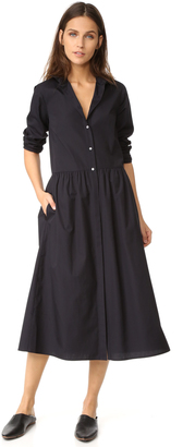 Vince Shirred Shirtdress $295 thestylecure.com