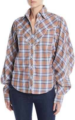 Johanna Ortiz Dance of the Deer Bubble-Sleeve Tartan Shirt w\/ Western Piping