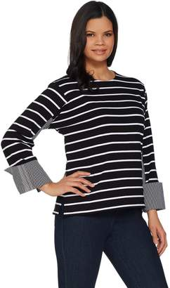 Women With Control Attitudes by Renee Striped Knit Top w/ Woven Cuff Detail